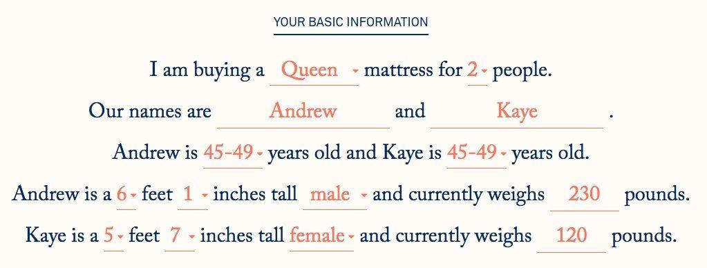 Helix mattress questionnaire