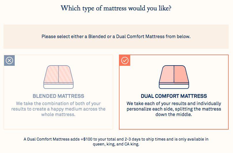 Helix mattress design choice, blended or split